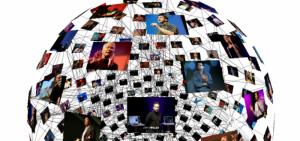 Mapa mundi formado por una red de imágenes de charlas TEDx
